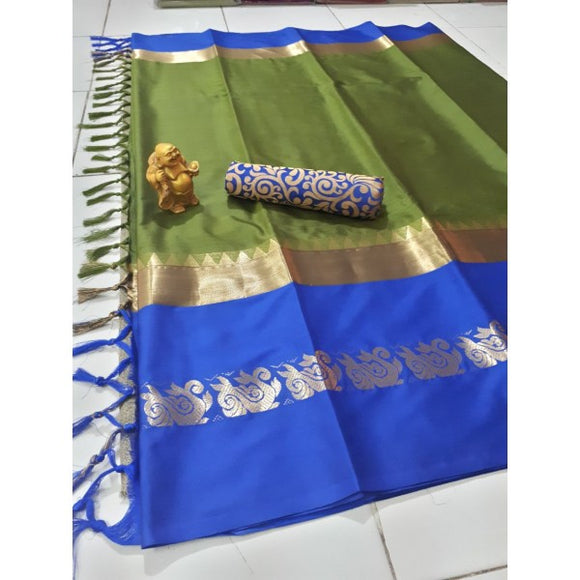 Refreshing Mahendi And Blue Color Silk Designer Saree