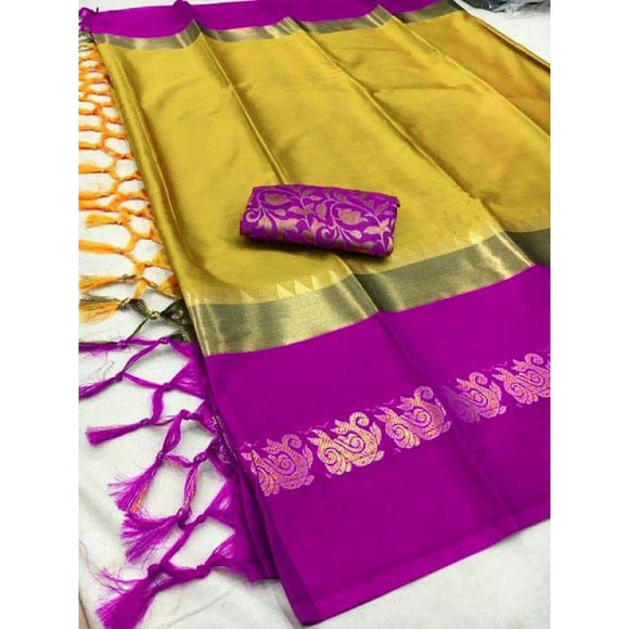 Stylish Mustard And Wine Color Silk Designer Saree