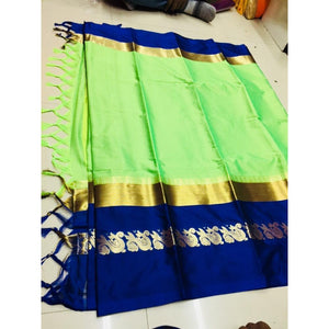 Mind Blowing Green And Blue Color Silk Designer Saree