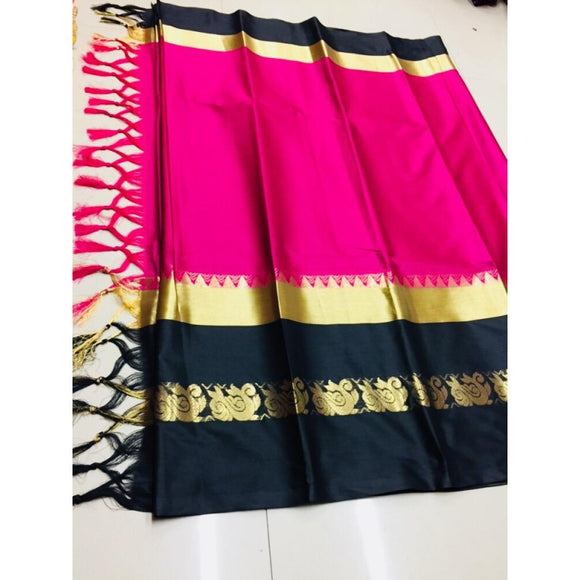 Unique Pink And Black Color Silk Designer Saree