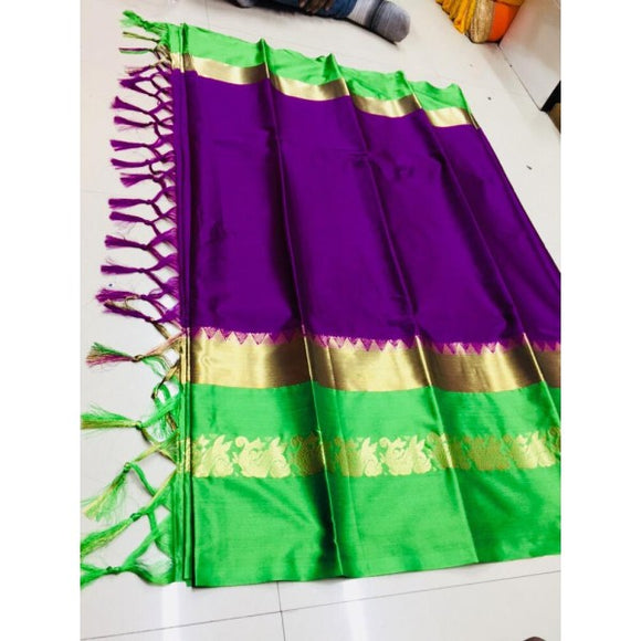 Dreamy Wine And Green Color Silk Designer Saree