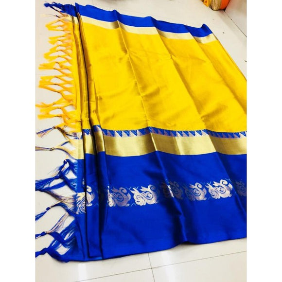 Beautiful Yellow And Blue Color Silk Designer Saree