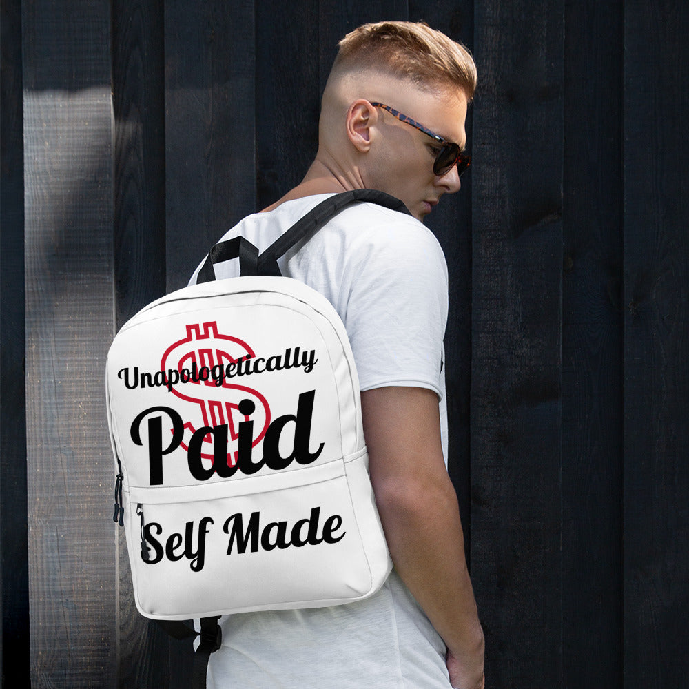 Unapologetically Paid Self Made All-Over Print Backpack