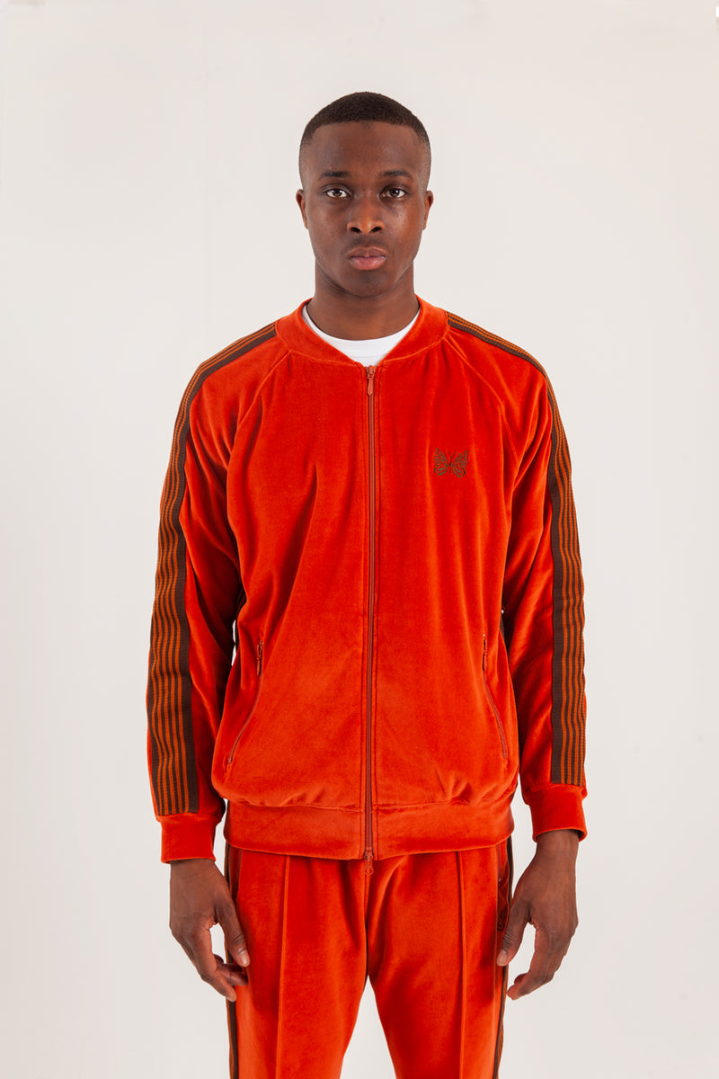 Ribbed collar track jacket