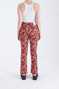 Flowered Denim Pant