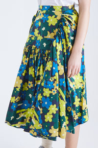Pleated Flowered Skirt