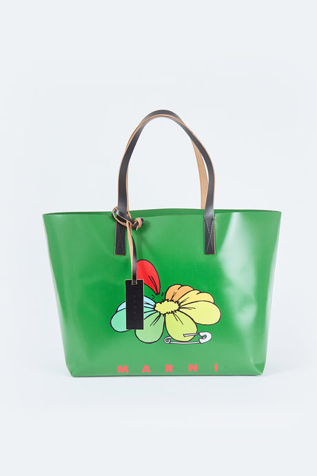 Flower Calfskin PVC Cabas Bag