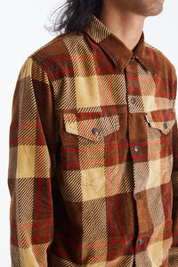 Plaid Cord Trucker Jacket