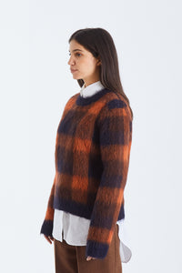 Checked alpaca-blend sweater