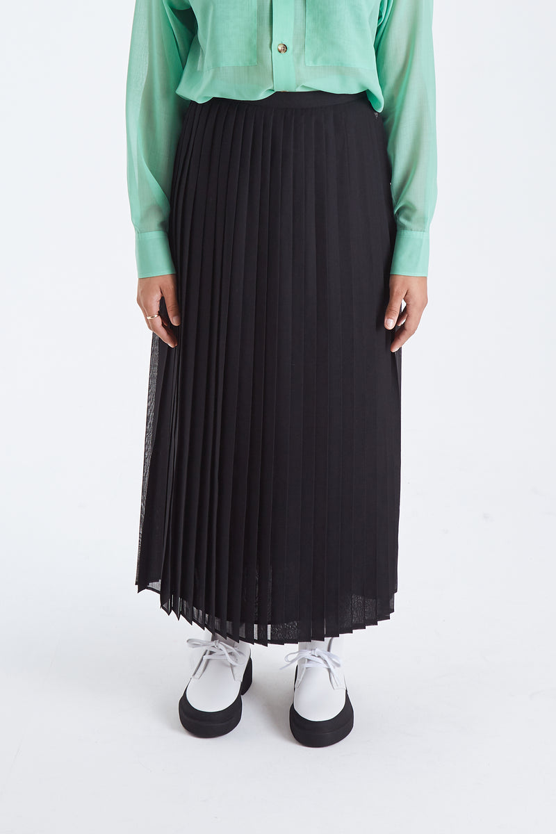 Wool Recycle  Pleat Skirt