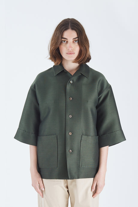 Silk Cotton Salt Shrunk Pique Big Shirts Blouson