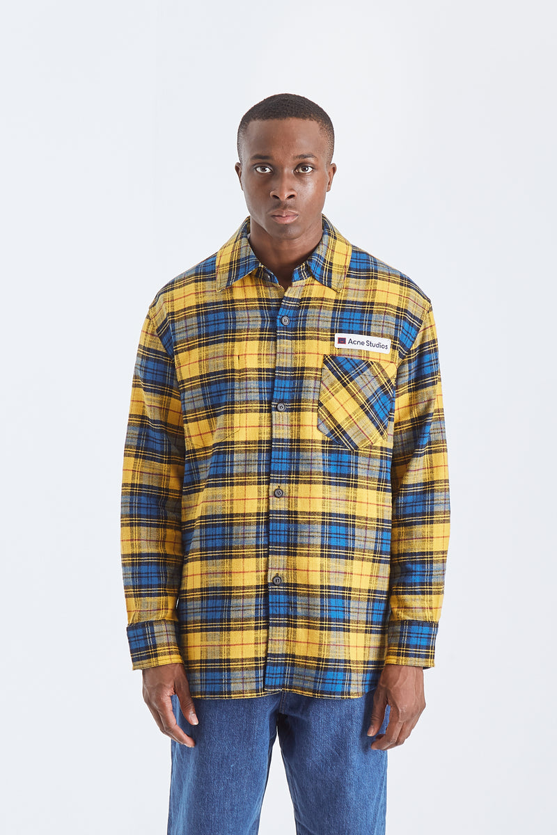 Logo patch flannel overshirt