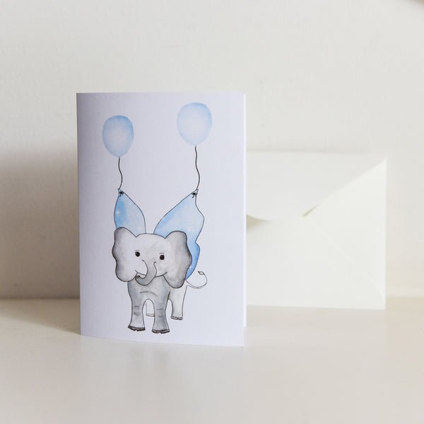 Watercolour Elephant with Balloon Card