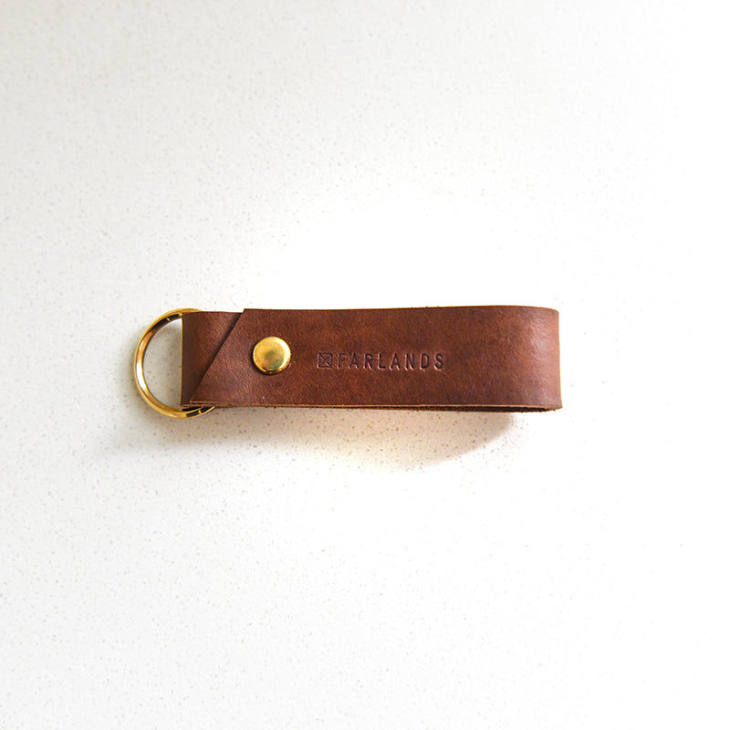 Leather Key Ring - Dark Tan with Brass