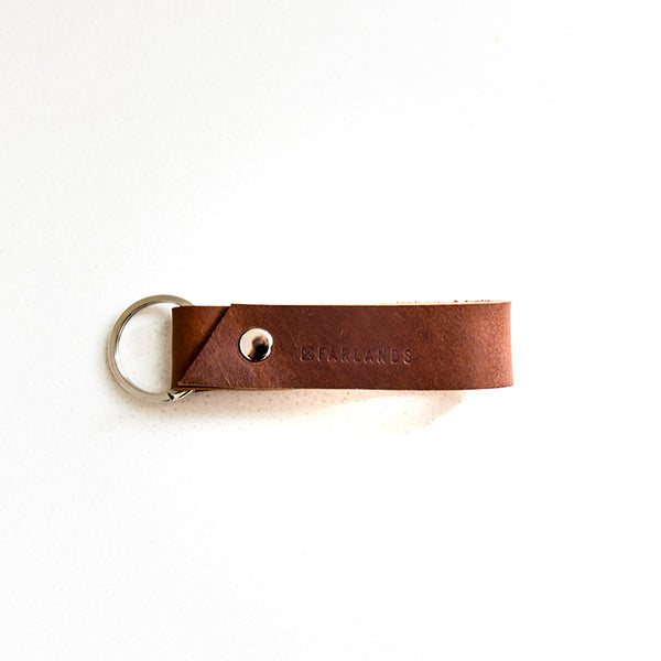 Leather Key Ring - Dark Tan with Silver