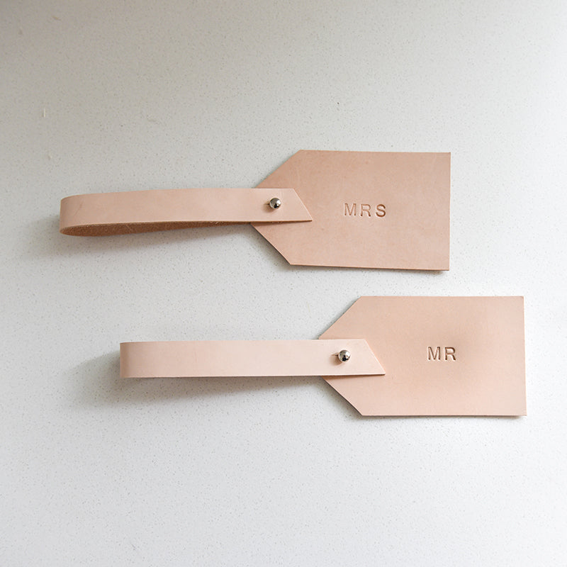 Mr and Mrs Leather Luggage Tags - Natural with Silver