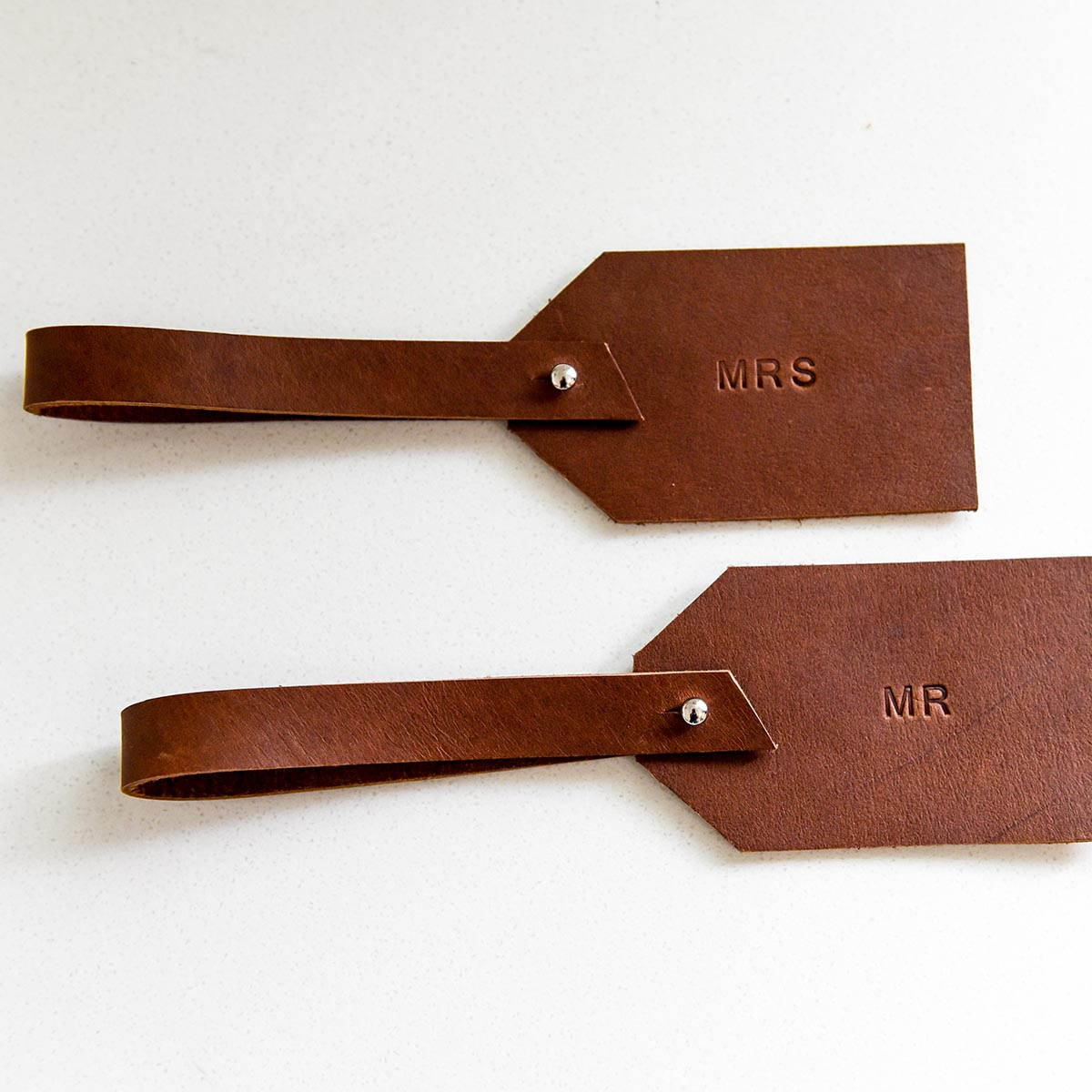 Mr and Mrs Leather Luggage Tags - Dark Tan with Silver