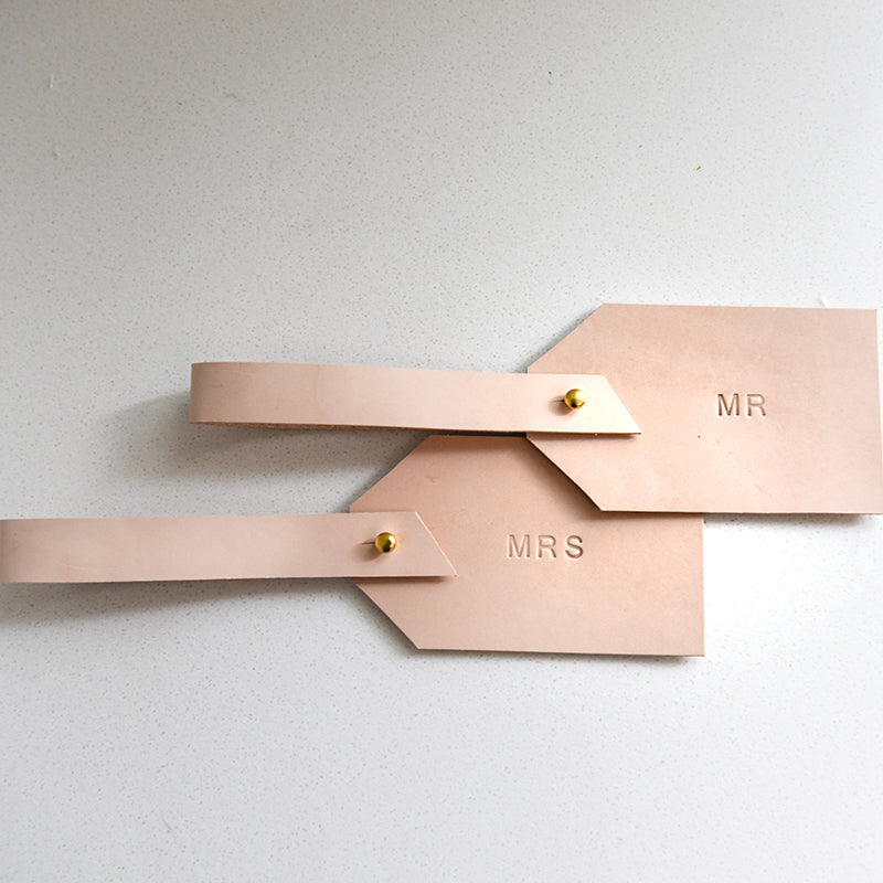 Mr and Mrs Leather Luggage Tags - Natural with Brass