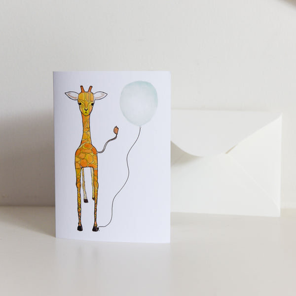 Watercolour Giraffe with Balloon Card
