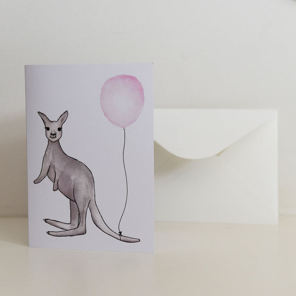 Watercolour Kangaroo with Balloon Card