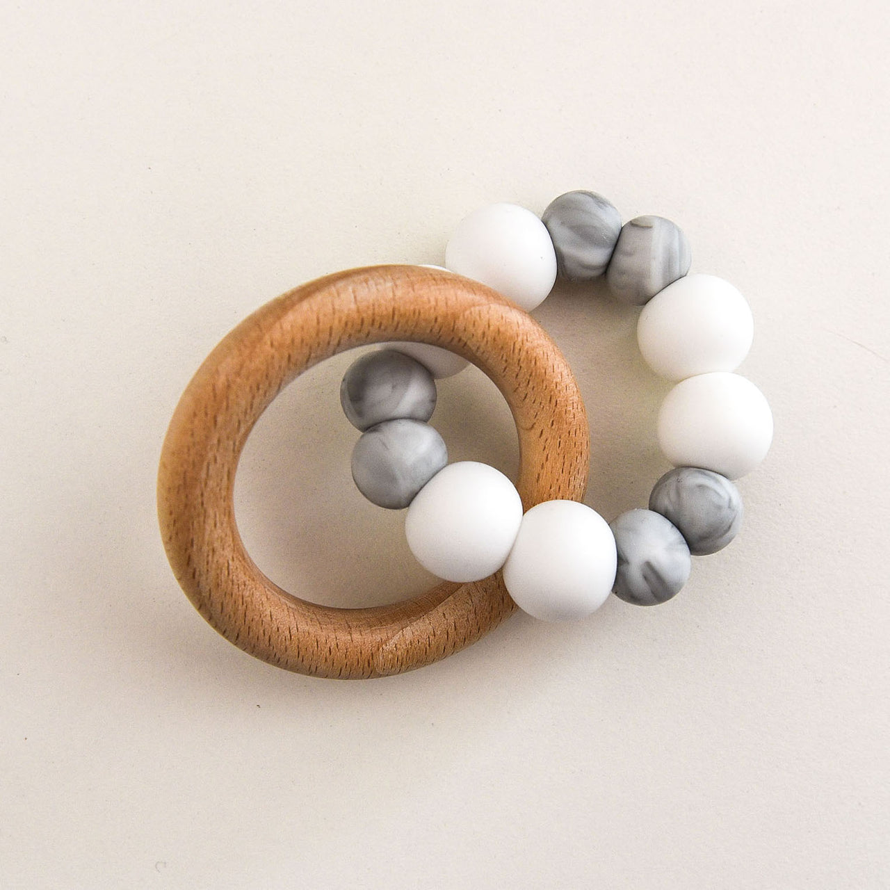Duo Silicone and Beech Wood Teether - White and Grey