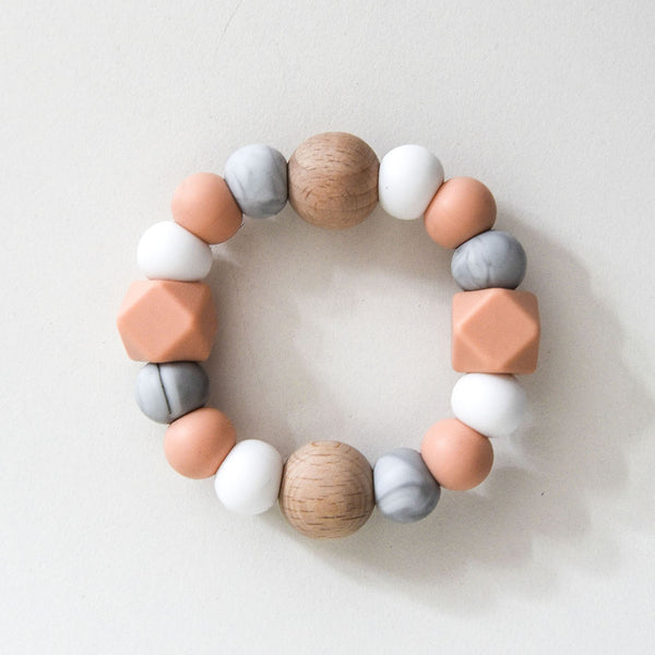 Textured Silicone Teether - Peach Marble