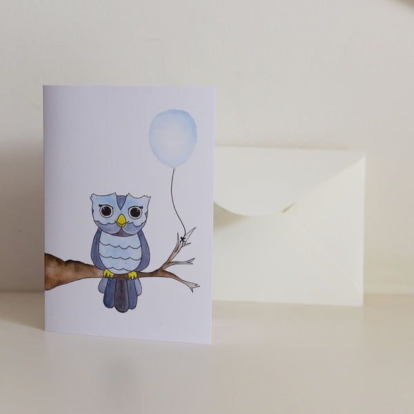 Watercolour Owl with Balloon Card