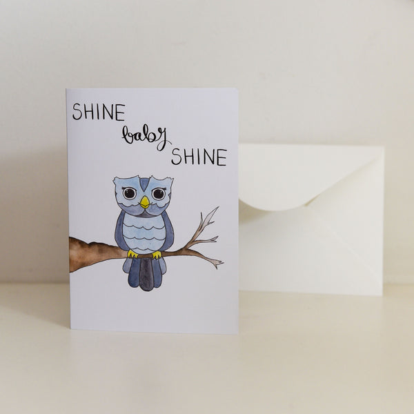 Watercolour 'Shine Baby Shine' Card