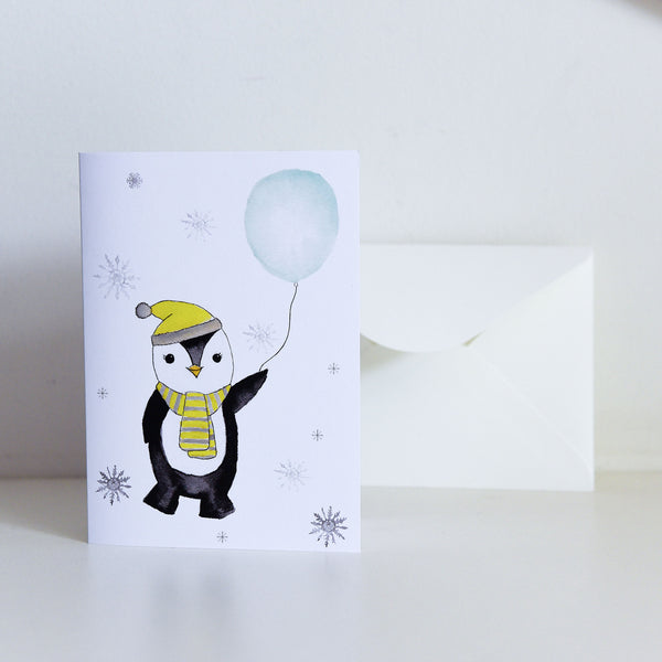 Watercolour Penguin with Balloon Card
