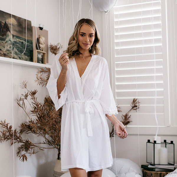 White Bridal Robe with Lace
