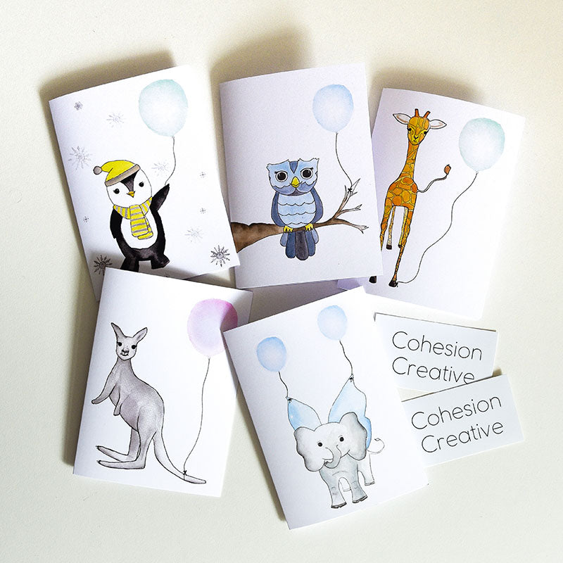 Watercolour Animal Card Set with Balloons
