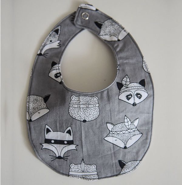 Woodland Animals Baby Bib - Grey