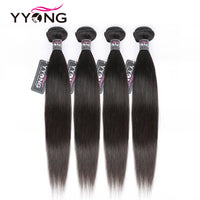 "Yyong Peruvian Straight Hair Bundles 100% Human Hair Weaves 4 Bundles Natural Color Remy Hair Extension 8-26"" Can Be Restyle"