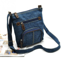 Denim Shoulder Bag Ladies Satchel Zipper Bag Messenger Crossbody Bag Women Fashion Coin Purse  Sling Shopping Bag Retro Style
