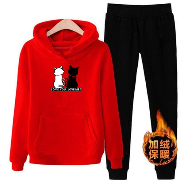p72 2pcs Hooded Casual Tracksuit Suits For Women Set Hoodies Sweatshirt+Sweatpants 2 Pieces Sets Women's Suit Sweatsuit Female