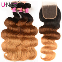 "Unice Hair Ombre 3 Bundles With Closure 8-26"" T1B/4/27 Brazilian Body Wave Bundles With Closure Free Part Remy Human Hair Weave"