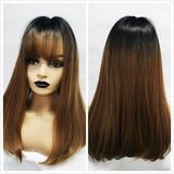 ALAN EATON Synthetic Wigs Long Straight Layered Hairstyle Ombre Black Brown Blonde Gray Ash Full Wigs with Bangs for Black Women
