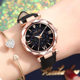 Women Watch Fashion Leather Band Ladies Quartz Wrist Watch Starry Sky Round Dial Roman Number Rhinestone Leather Band Watch