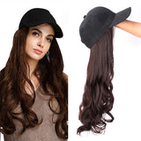 Long Synthetic  Baseball Cap Wig Natural Black / Brown Wave Wigs Naturally Connect Synthetic Hat Wig Adjustable For girl party