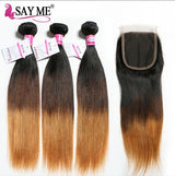 Ombre Straight Hair Bundles With Closure Remy Human Hair 3 Bundles With Closure Brazilian Hair Weave Bundles With Closure