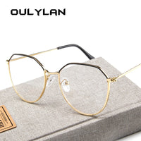 Oulylan Polygon Glasses Frame Women Men Vintage Clear Lens Myopia Eyeglasses Frames Female Transparent Optical Spectacles Gold
