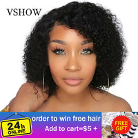 VSHOW 13X4 Malaysian Water Wave Short Bob Wigs With Baby Hair Remy Lace Front Human Hair Wigs 150% Density Lace Front Wigs