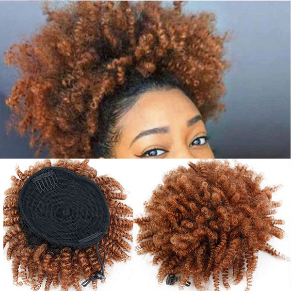 Eseewigs Kinky Curly Human Hair Drawstring Ponytail 1bT30 Ombre Color Clip In Extension for Women Brazilian Remy Hair 100g