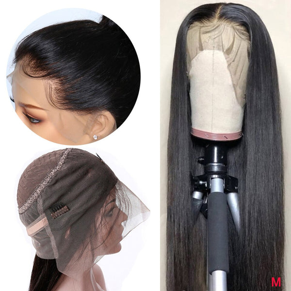 360 Lace Frontal Wig Pre Plucked Natural Hairline 150% Density Middle Ratio Peruvian Straight Remy Lace Frontal Human Hair Wigs