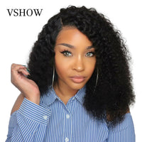 VSHOW 13x6 Mongolian Kinky Curly Wig With Baby Hair Lace Front Wigs For Women Natural Color Remy 360 Lace Frontal Wigs