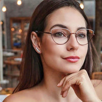 Spectacle women cat eye Glasses frame clear lens 2019 Fashion metal frame Optical black feminine glasses women's eyeglasses