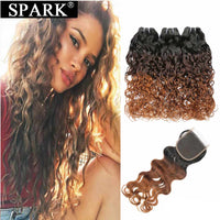 Spark Ombre Brazilian Human Hair Water Wave Human Hair Bundles With Closure 100% Remy Human Hair Closure With Bundles For Black
