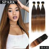 SPARK Ombre Brazilian Human Hair Straight Bundles with Closure Remy Hair Human Hair With Closure For Black Women Natural 1B/4/30