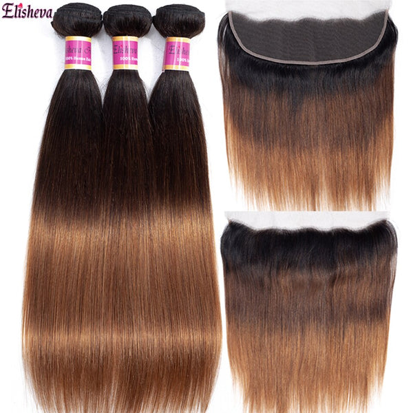 Elisheva 1b/4/30 Peruvian Straight Hair Ombre Bundles With Frontal  Pre Plucked Remy 100% Human Hair 3 Bundles with Closure 13x4