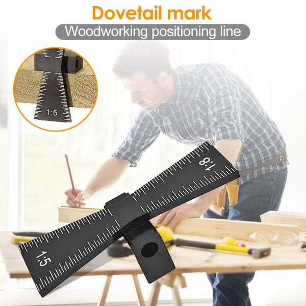 Aluminum Alloy Hand Cut Wood Joints Gauge Woodworking Tool Template Size 1: 5 and 1: 8 Dovetail Marker Marking Carpentry Tool